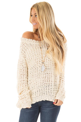 Cream Loose Knit High Low Sweater with Zip Up Back front close up