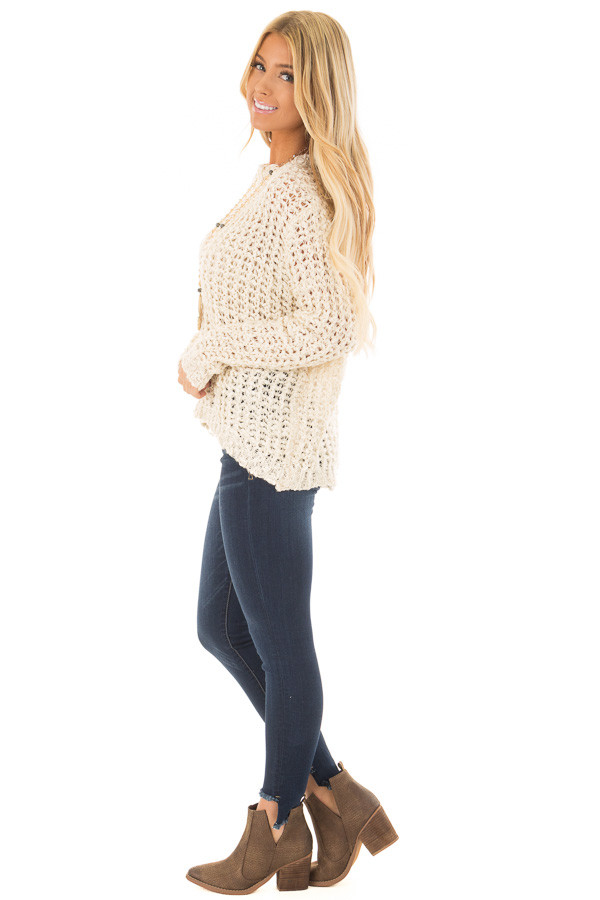 Cream Loose Knit High Low Sweater with Zip Up Back side full body