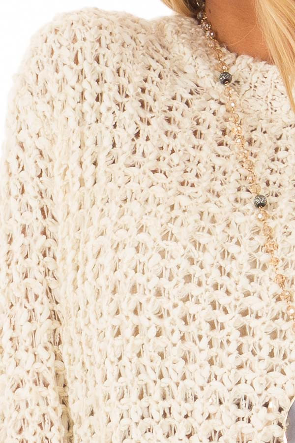 Cream Loose Knit High Low Sweater with Zip Up Back detail