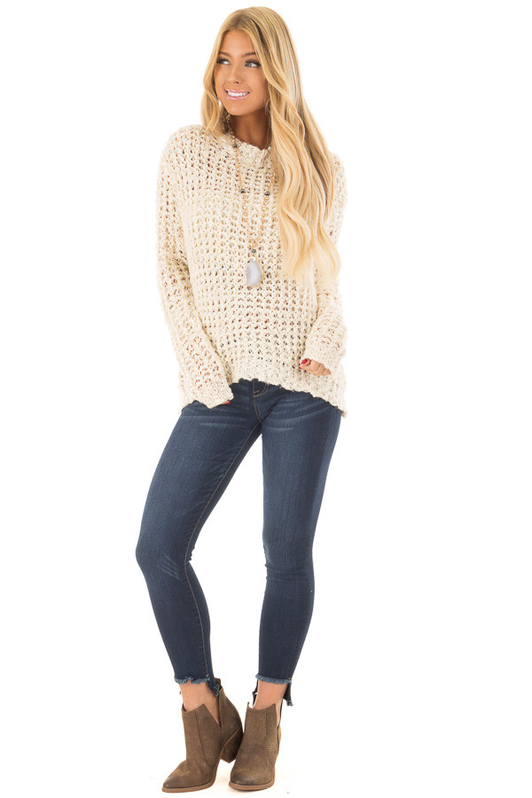 Cream Loose Knit High Low Sweater with Zip Up Back front full body