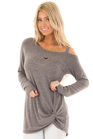 Stormy Grey Soft Cold Shoulder Top with Twist Detail front close up