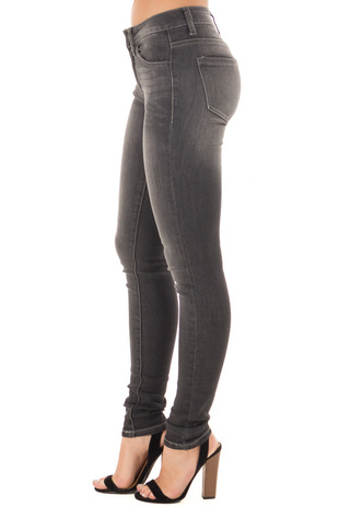 Dark Grey Denim Mid Rise Ankle Skinny Jean side view