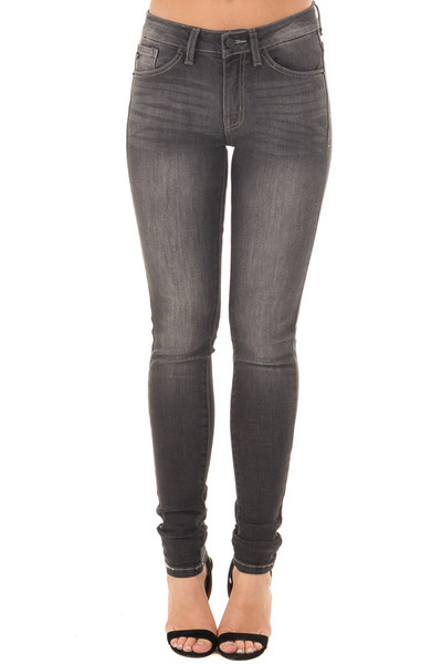 Dark Grey Denim Mid Rise Ankle Skinny Jean front view
