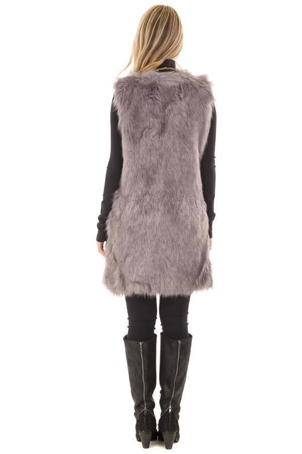 Charcoal Two Tone Faux Fur Vest back full body