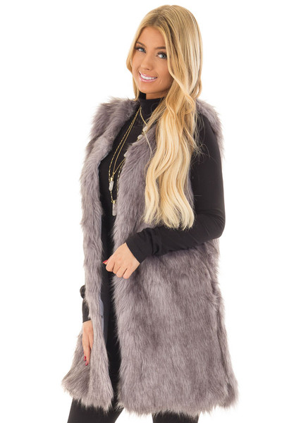 Charcoal Two Tone Faux Fur Vest front close up