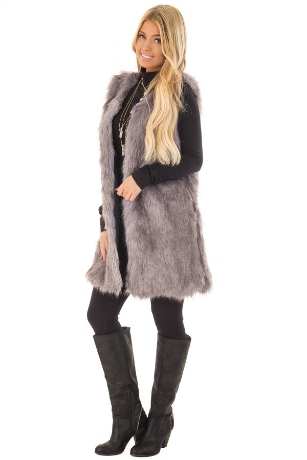 Charcoal Two Tone Faux Fur Vest front full body