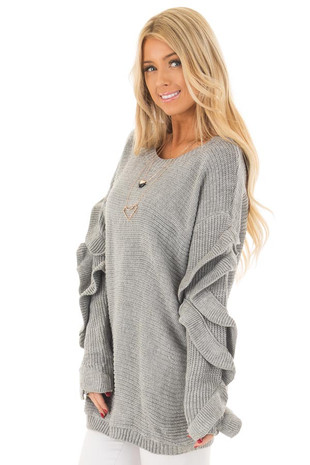 Heather Grey Sweater with Ruffled Long Sleeves side close up