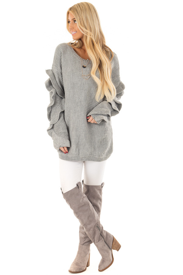 Heather Grey Sweater with Ruffled Long Sleeves front full body