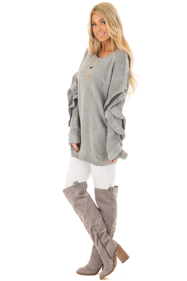 Heather Grey Sweater with Ruffled Long Sleeves side full body