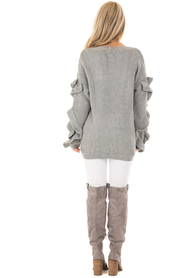 Heather Grey Sweater with Ruffled Long Sleeves back full body