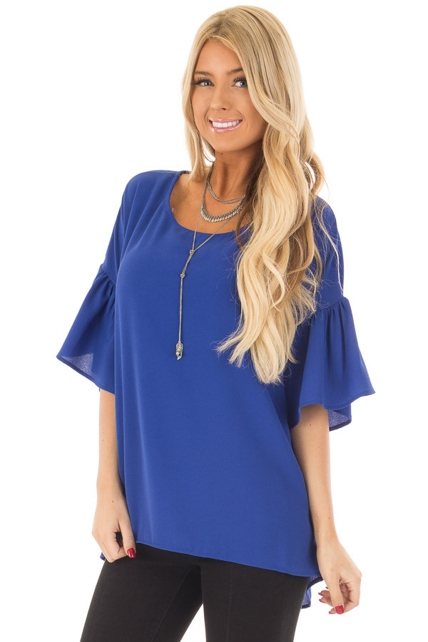 Royal Blue Bell Sleeve Top front close up