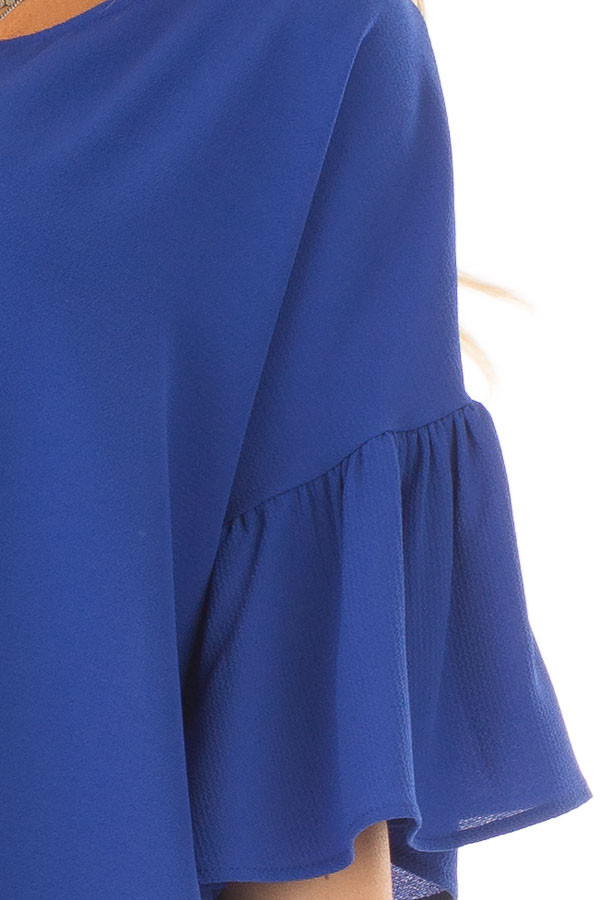 Royal Blue Bell Sleeve Top detail