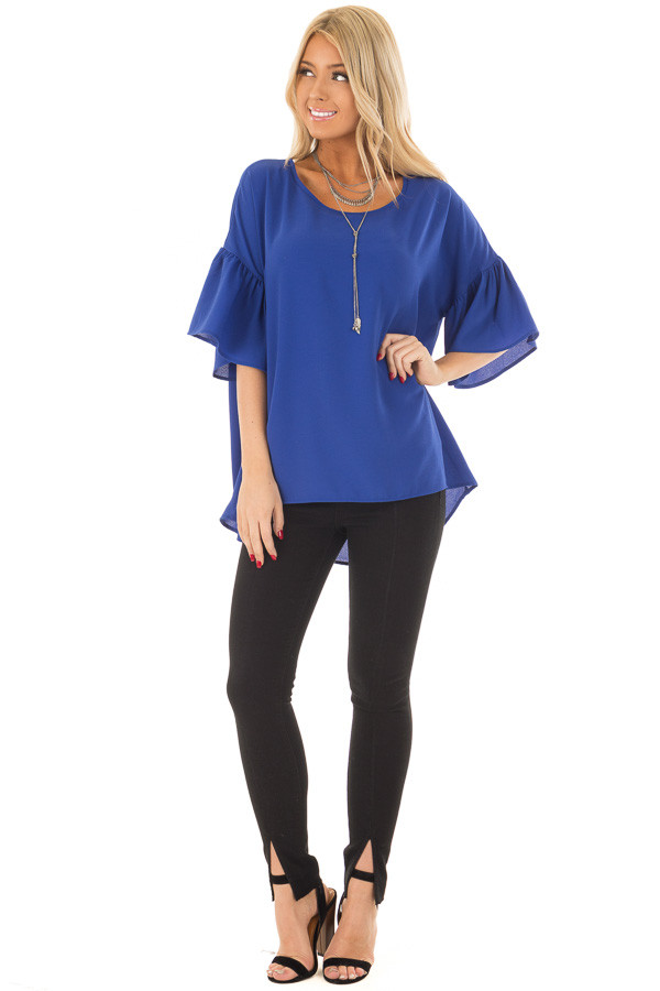 Royal Blue Bell Sleeve Top front full body