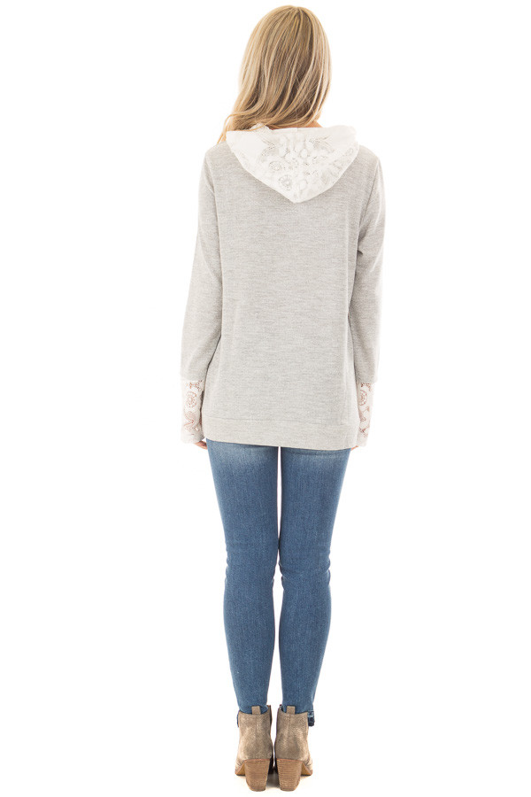 Heather Grey Hoodie with White Lace Contrast back full body