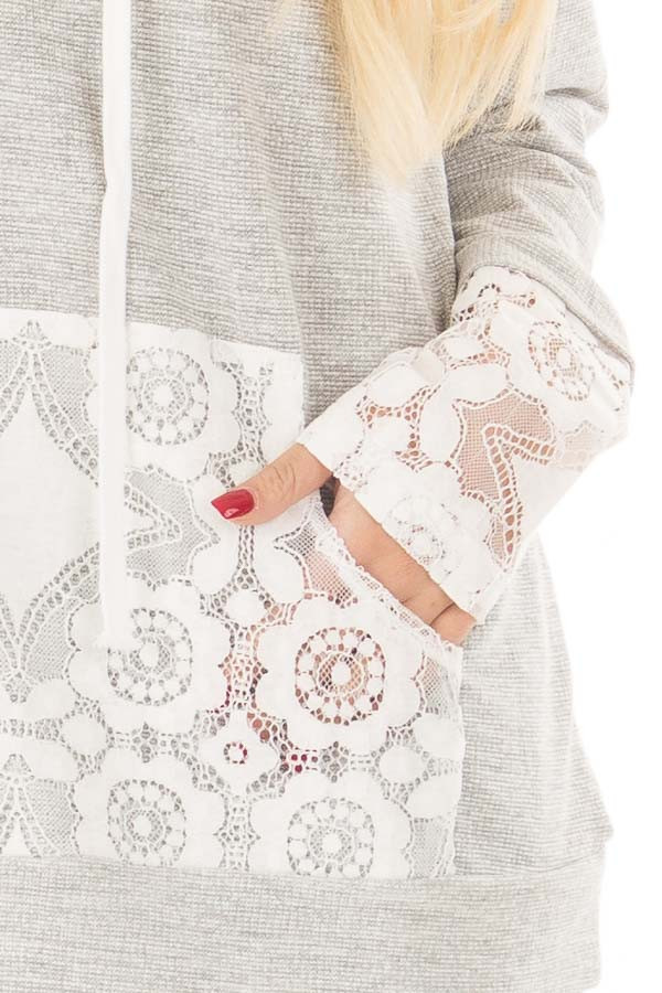 Heather Grey Hoodie with White Lace Contrast detail
