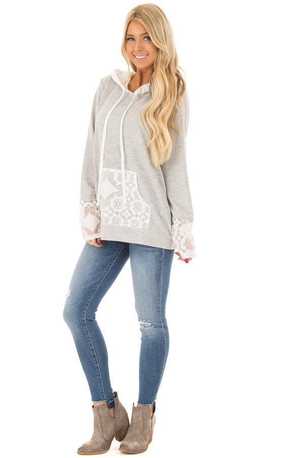 Heather Grey Hoodie with White Lace Contrast front full body