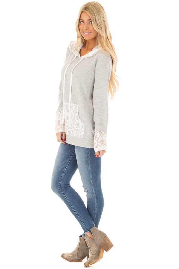 Heather Grey Hoodie with White Lace Contrast side full body