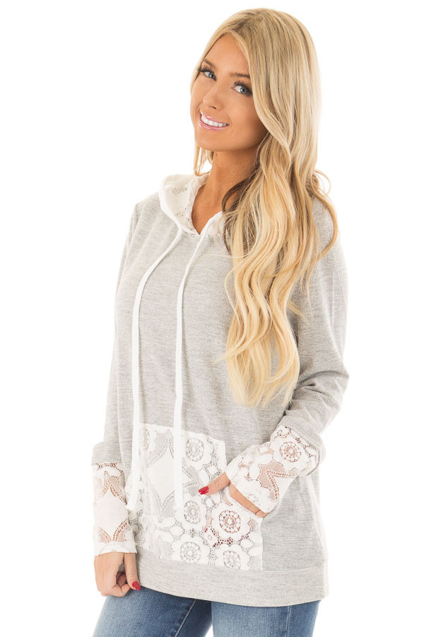 Heather Grey Hoodie with White Lace Contrast front close up