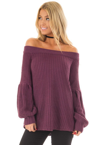 Plum Off the Shoulder Top with Long Balloon Sleeves front close up