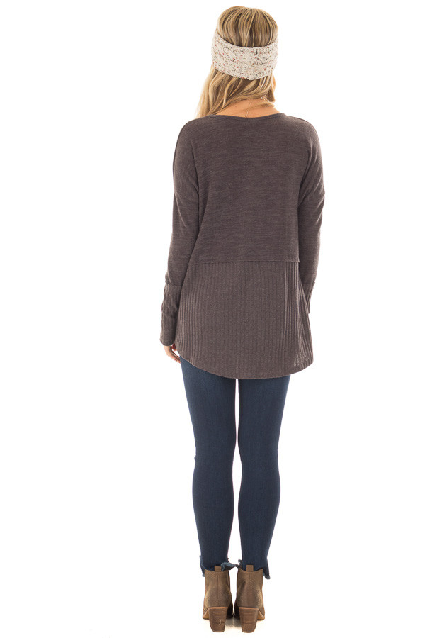 Chocolate Sweater with Ribbed Contrast back full body