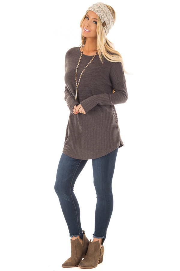 Chocolate Sweater with Ribbed Contrast front full body