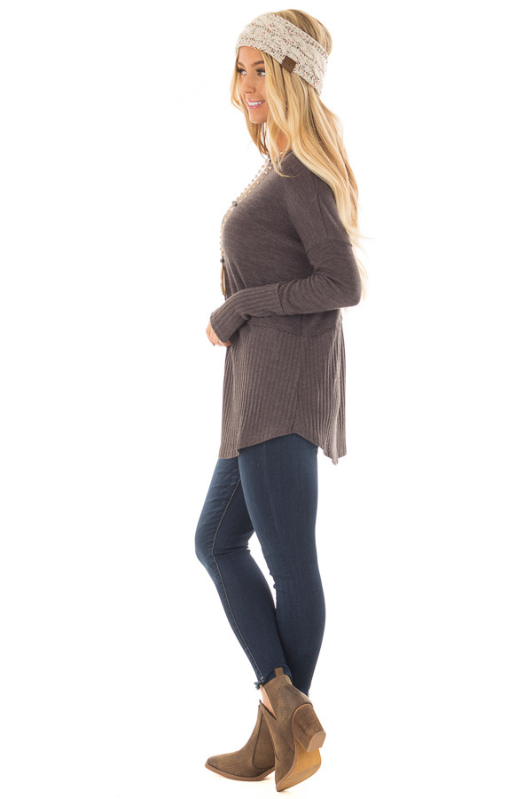 Chocolate Sweater with Ribbed Contrast side full body