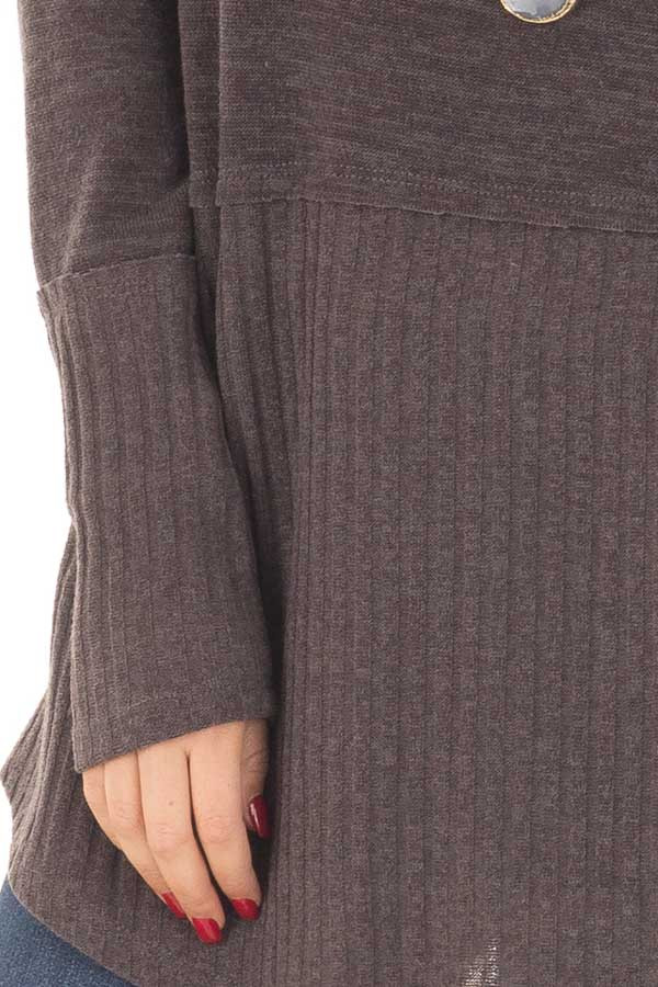 Chocolate Sweater with Ribbed Contrast detail
