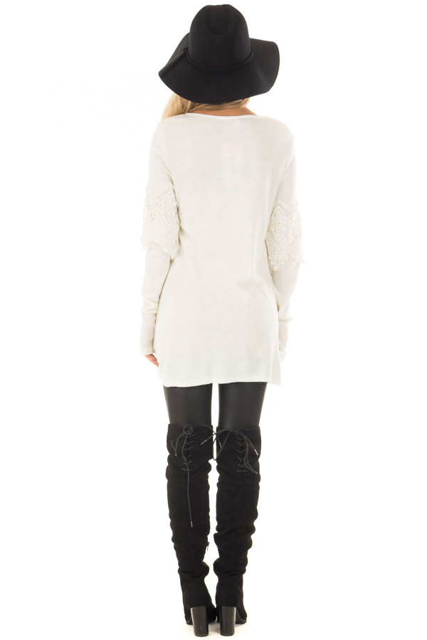 Cream Tunic with Lace Detail back full body