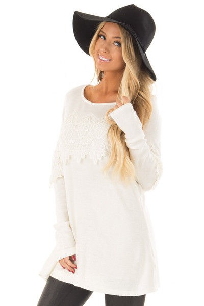 Cream Tunic with Lace Detail front close up