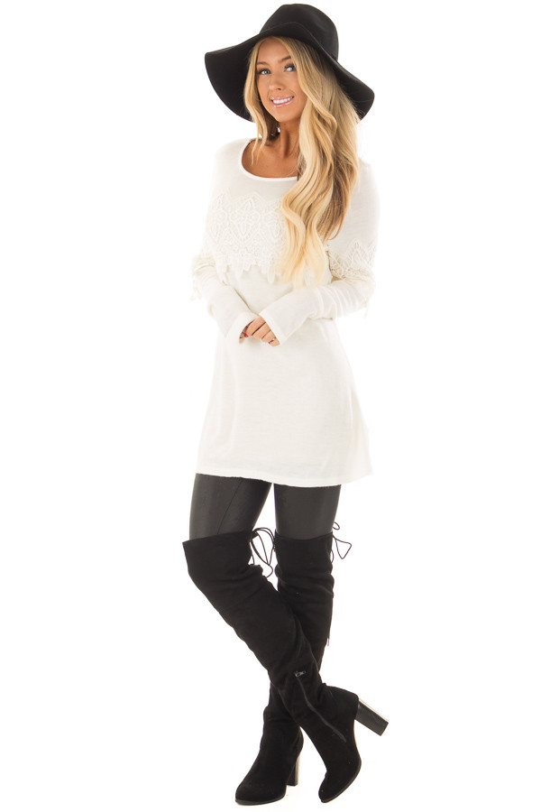 Cream Tunic with Lace Detail front full body