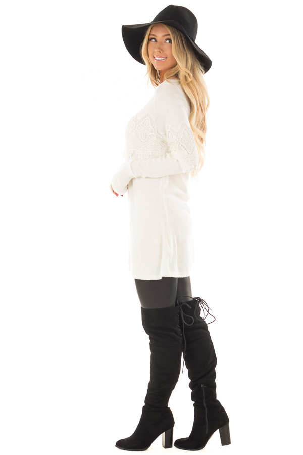 Cream Tunic with Lace Detail side full body