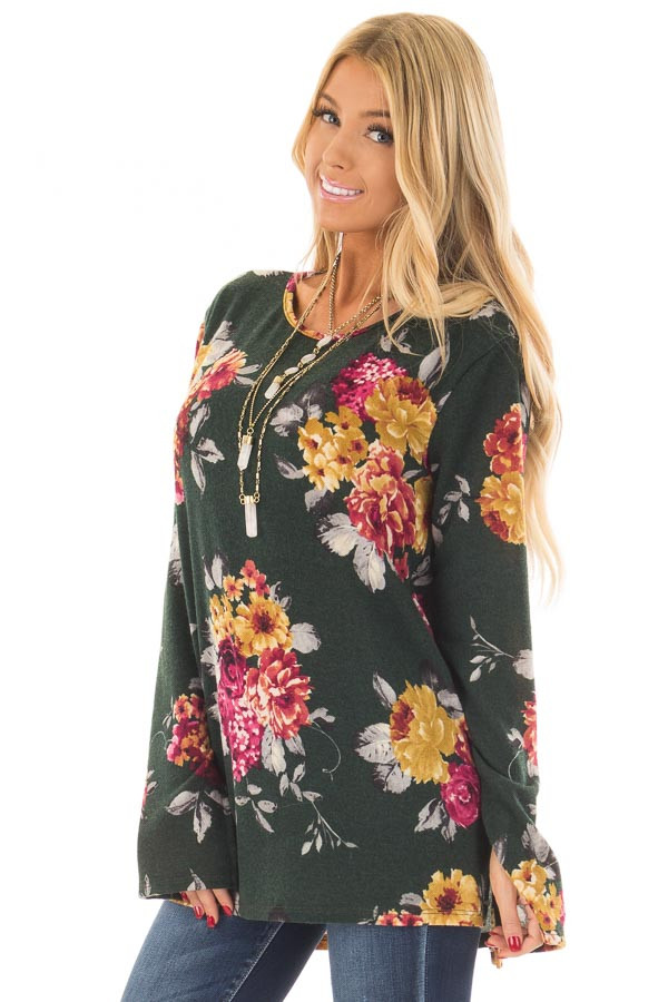 Hunter Green Floral Print Long Sleeve Top front close up