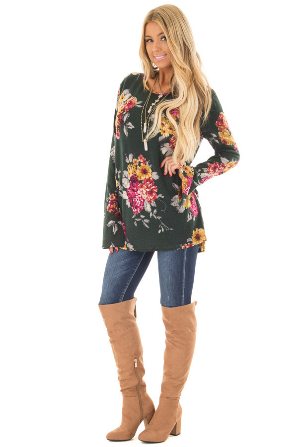 Hunter Green Floral Print Long Sleeve Top front full body
