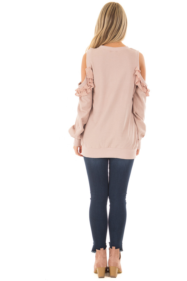 Blush Ruffled Cold Shoulder Sweater back full body