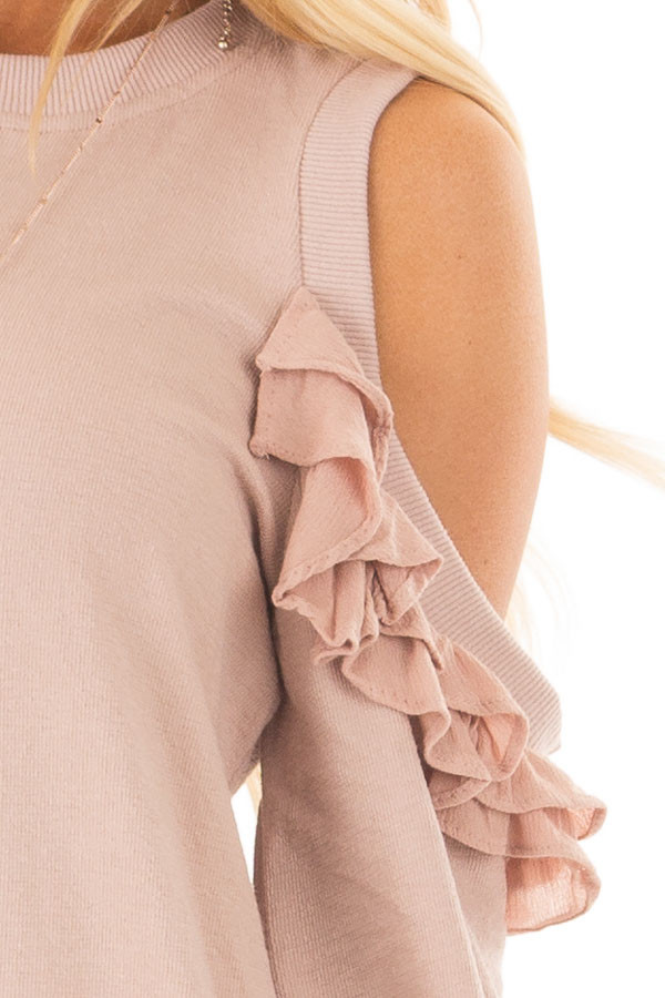 Blush Ruffled Cold Shoulder Sweater detail