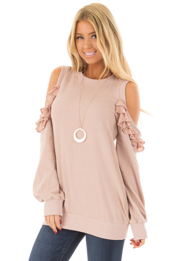 Blush Ruffled Cold Shoulder Sweater front close up