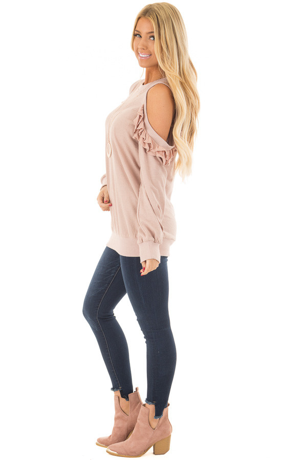 Blush Ruffled Cold Shoulder Sweater side full body