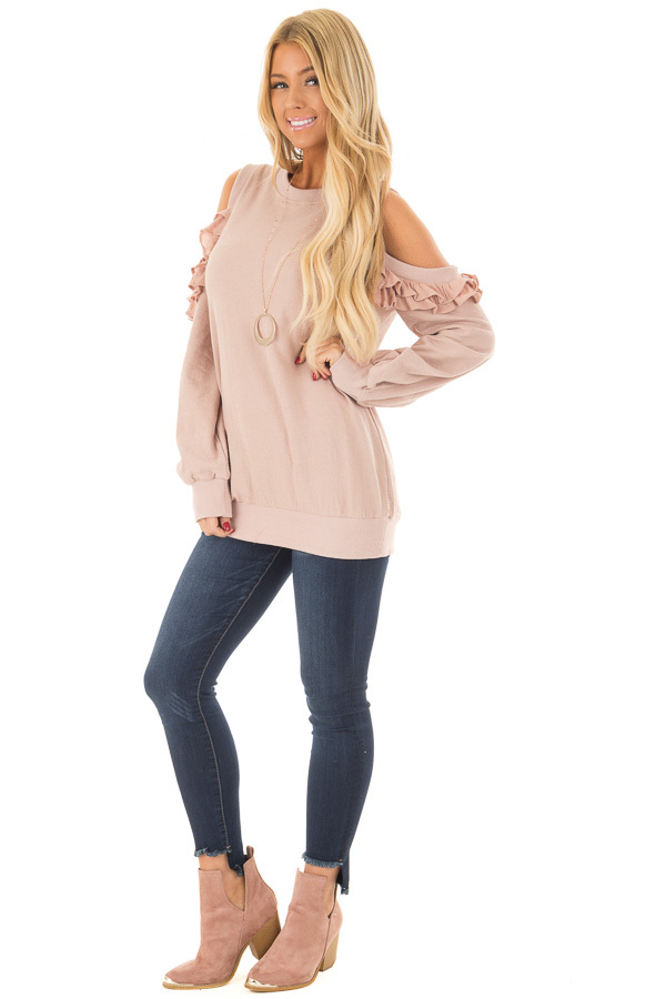 Blush Ruffled Cold Shoulder Sweater front full body