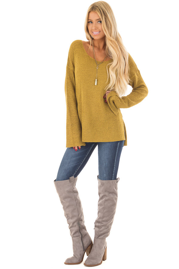 Golden Boat Neck Sweater with Side Slits front full body