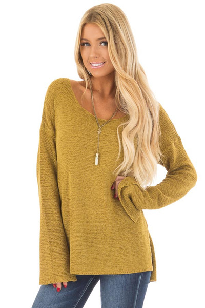 Golden Boat Neck Sweater with Side Slits front close up
