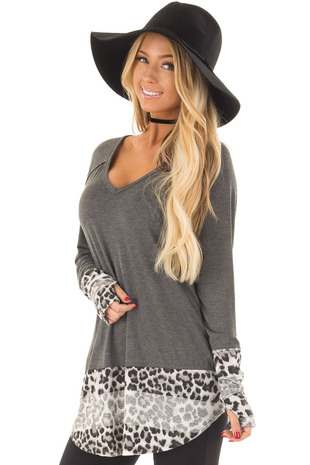 Charcoal V Neck Top with Leopard Contrast front close up