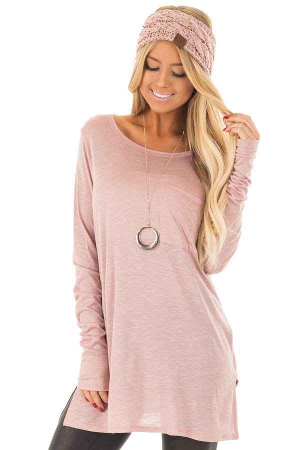 Blush Long Sleeve Tee Shirt with Breast Pocket front close up
