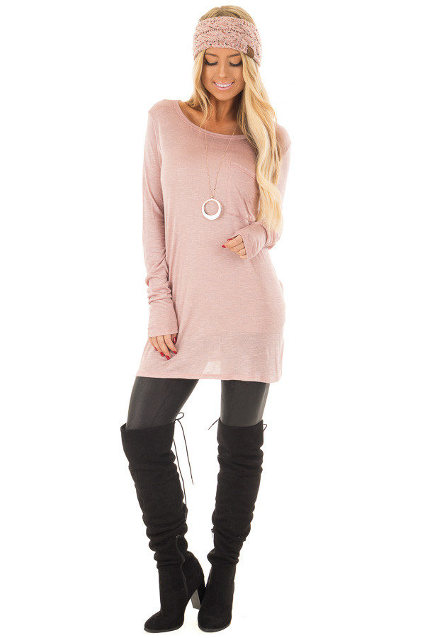 Blush Long Sleeve Tee Shirt with Breast Pocket front full body