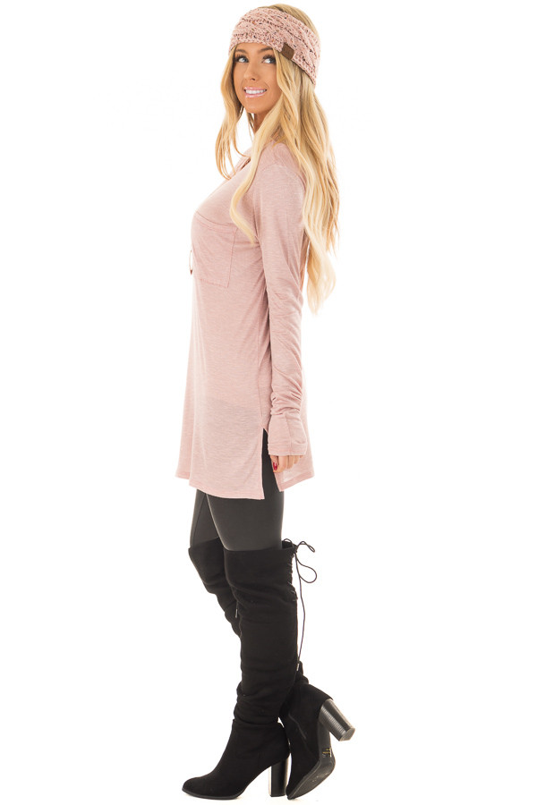 Blush Long Sleeve Tee Shirt with Breast Pocket side full body