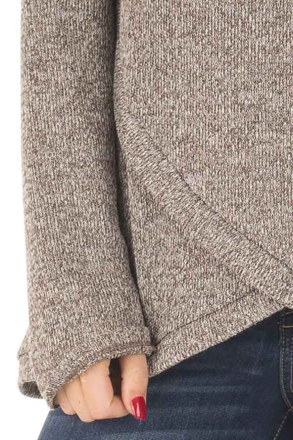 Taupe Crossover V Neck Long Sleeve Sweater detail