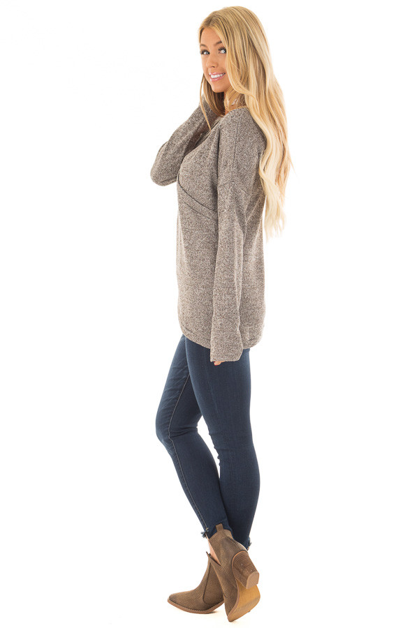 Taupe Crossover V Neck Long Sleeve Sweater side full body