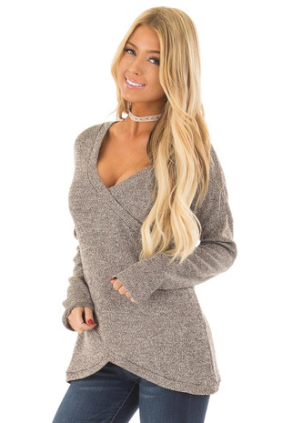 Taupe Crossover V Neck Long Sleeve Sweater front close up