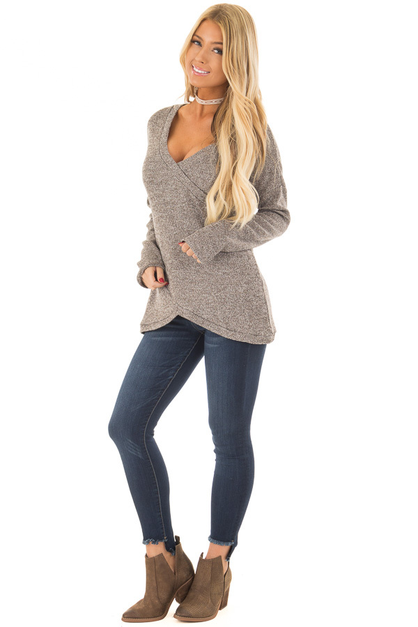 Taupe Crossover V Neck Long Sleeve Sweater front full body