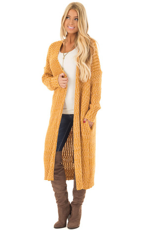 Mustard Long Cardigan with Pockets front close up