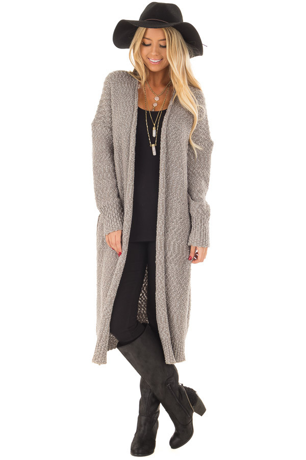 Cloud Grey Long Cardigan with Pockets - Lime Lush Boutique